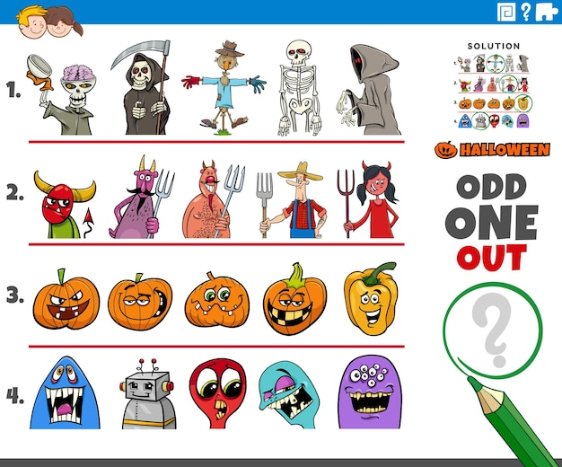 Odd one out picture in a row game for children with spooky halloween characters