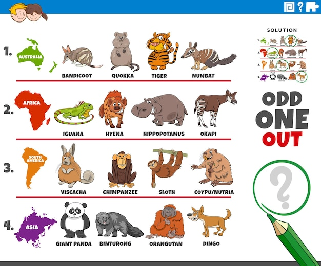 Odd one out picture task with animal species and continents numbat