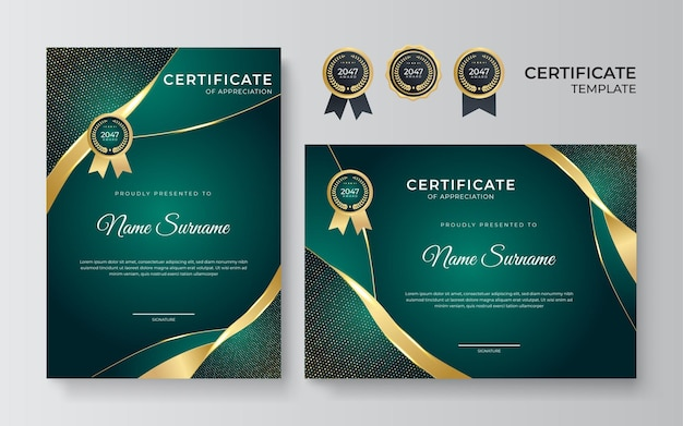 Современные шаблоны сертификатов достижений с элементами роскошных золотых значков формы золотой волны