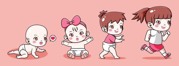 Ребенка, превращающегося в маленькую девочку