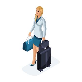 荷物を持って立っている出張中の美しい女性の肖像画。美しいビジネススーツ。旅行ビジネスの女性。図