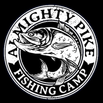 Большой окунь или красный окунь для логотипа значка турнира по рыбалке
