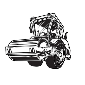 背景の上の色steamrollerのセット。モノクロスタイル