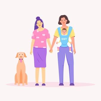 플랫 만화 스타일의 아기와 함께 귀여운 동성애의 초상화
