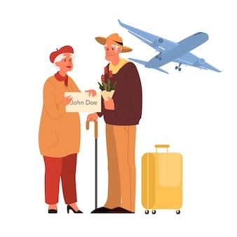 Пожилого туриста с багажом и сумкой. старик и женщина с чемоданами. сборник старых персонажей в их путешествии. концепция путешествий и туризма