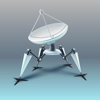 빛 배경에 고립 된 포물선 위성 접시와 가상의 네 발 달린 로봇의 그림