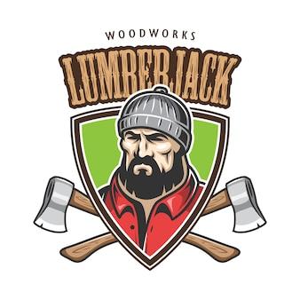 Эмблемы лесоруба, этикетки, значка, логотипа с текстом. изолированные на белом фоне.