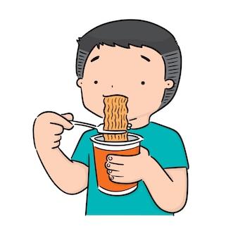 Человек ест лапшу