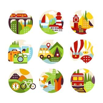 風景、街の景色、さまざまな種類の車両のスタイルを持つ自然な円のロゴのセット。旅行代理店、インフォグラフィックまたはラベルのカラフルな要素。図