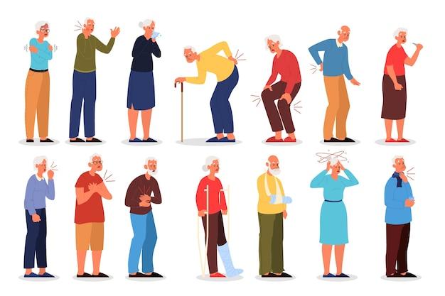 けがをした老人の人体のさまざまな種類の痛みのコレクション。痛みを伴う損傷、トラウマを持つ高齢者のキャラクター。