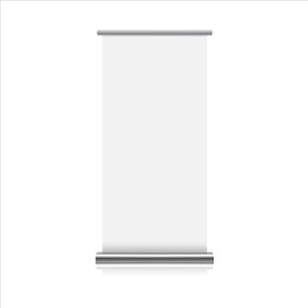 現実的なロールアップスタンドの白い背景の上。 3 dイラスト