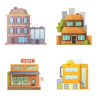レトロでモダンな都市住宅。古い建物、高層ビル。カラフルなコテージの建物、カフェの家。