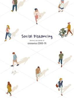 社会的距離概念の。人々は、コロナウイルス(covid-19)から身を守るために公共の場で互いに距離を置いています。手描きスタイルのイラスト。