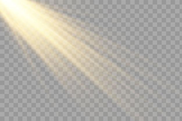 Солнечного света, яркие лучи освещения на прозрачном фоне