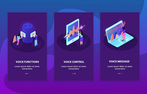 音声制御および音声認識機能を備えたデバイスを表す3つの等尺性広告構成の