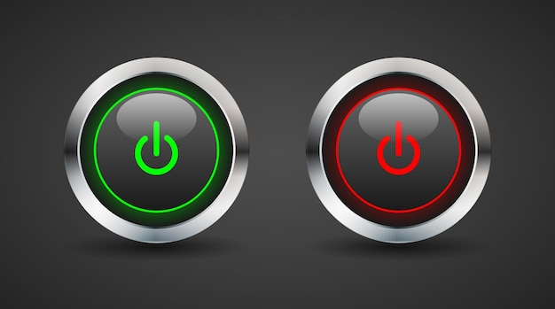 On and off button dark shiny style