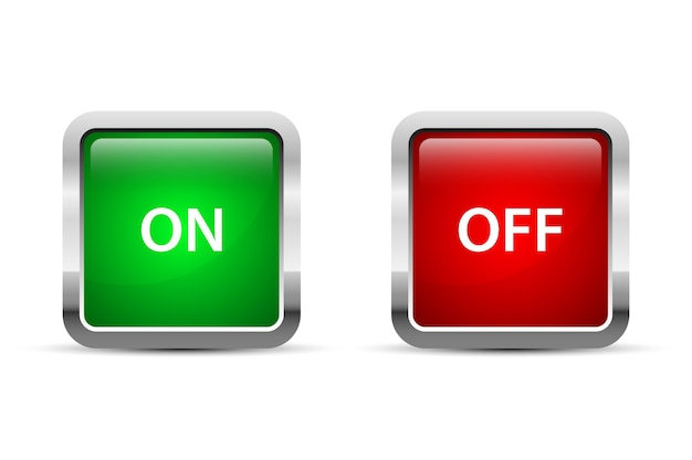 On and off button illustration isolated on white background