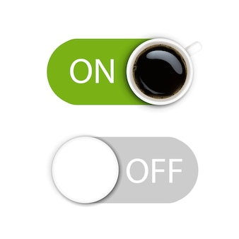 On and off button isolate on white