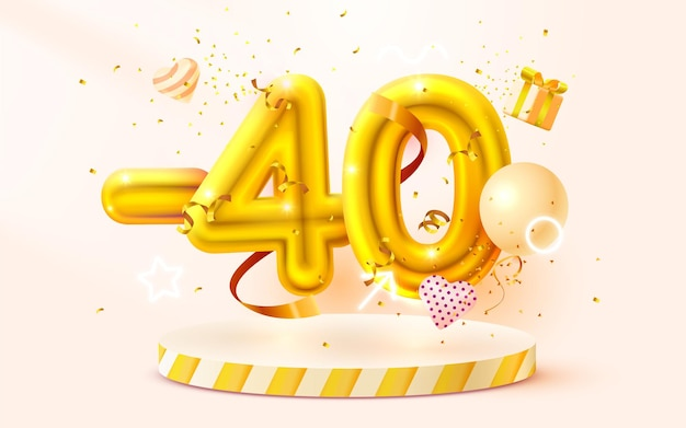 Скидка творческая композиция d золотой символ продажи с декоративными предметами воздушные шары в форме сердца золотой подиум конфетти и подарочная коробка продажа баннер и плакат вектор