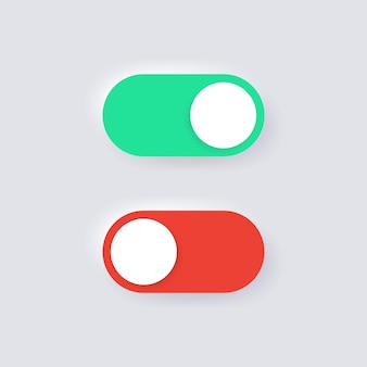 On and off icons in neumorphism toggle switch buttons for apps ui ux design
