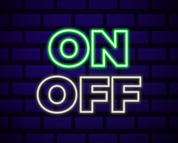 On and off lamp neon light toggle switch button.   fluorescent light