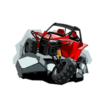 Off-road atv buggy, rides in the mountains on the rocks.