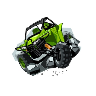Off-road atv buggy, rides through obstacles stones.
