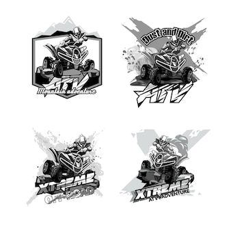 Off-road atv quad bike, set of logos black and white
