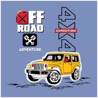 Off road car on the adventure funny cartoon
