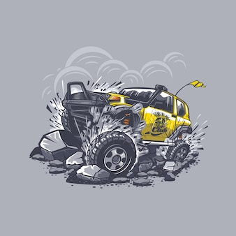 Off-road car on gray