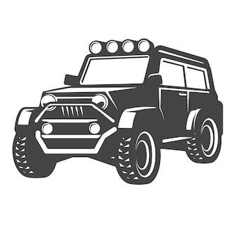白い背景の上のオフロード車のイラスト。ロゴ、ラベル、エンブレム、記号の要素。図