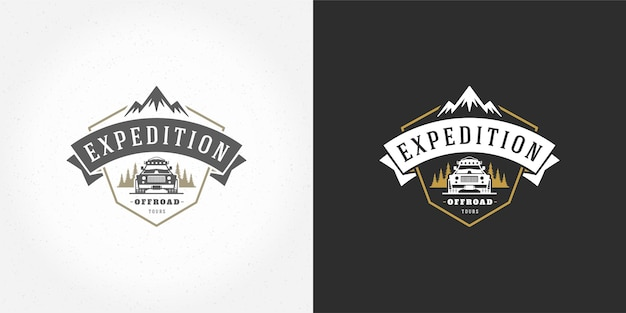 Off road car logo emblem vector illustration outdoor extreme adventure expedition safari suv