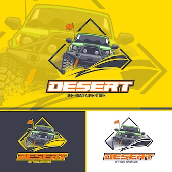 Off-road car logo in three versions on a yellow, dark and white background.