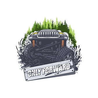 Off road car in the mud with only forward sign. can be used for printing on t-shirts.