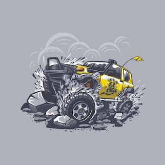 山の石からの障害物との灰色の戦いのオフロード車