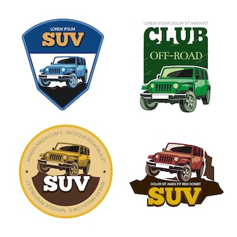 Off-road car vector emblems, labels and logos. transport vehicle, transportation auto motor speed illustration