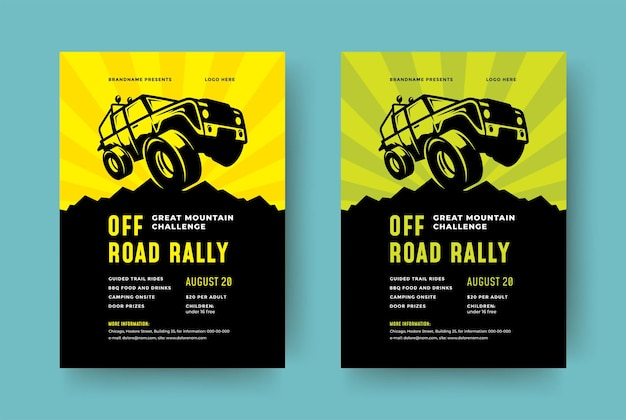 Off road truck competition poster or flyer event modern typography design template and x suv car Premium Vector