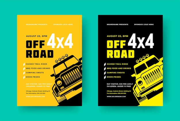 Off road truck competition poster or flyer event modern typography design template and x suv car