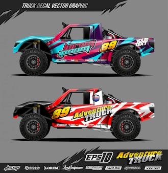 Off road truck decal wrap illustration