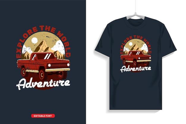 オフロードトラックのtシャツのデザインイラスト