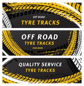 Off road tyre tracks black grunge tire prints for automobile service.