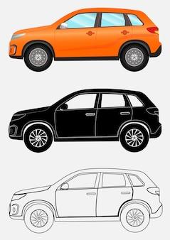 Off-road vehicle in three different styles: orange, black silhou