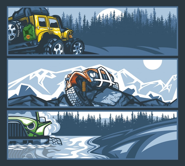Off-road vehicles in difficult situations, banner collection.