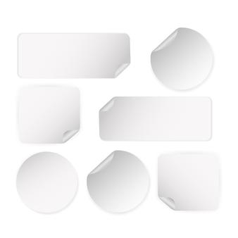 스티커 끄기, 모든 용도에 적합합니다. 흰색 배경에서 아이콘입니다. 빈 레이블.