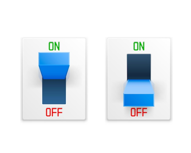 On off switch button ui isolated white wall.