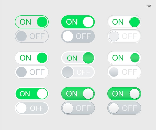 On off switch toggle buttons
