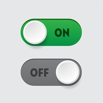 On - off toggle switch button template. realistic interface element