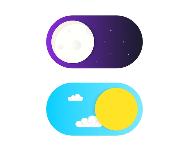 On off toggle switch button vector. light and dark buttons. day and night mode. vector on off switch