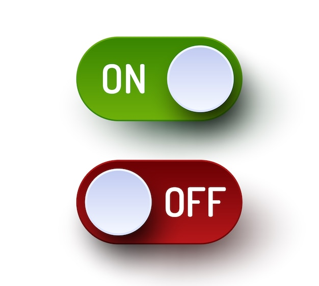 On and off toggle switch realistic buttons set