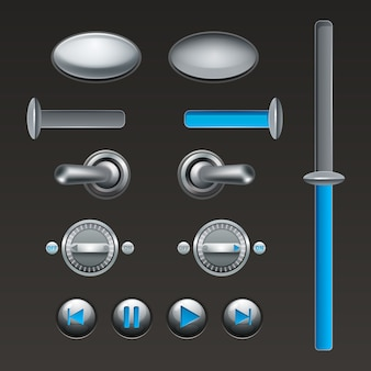 On off touch analog buttons and toggles set